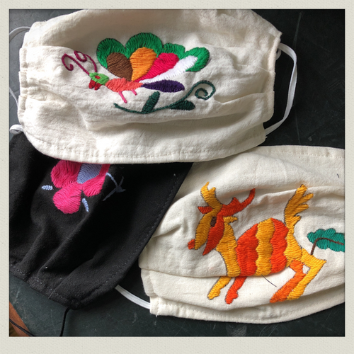 Otomi Hand Embroidered Face Mask from Mexico
