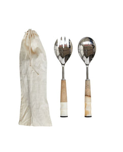 "11""L Stainless Steel, Wood & Horn Salad Servers in Drawstring Bag, Set of 2"
