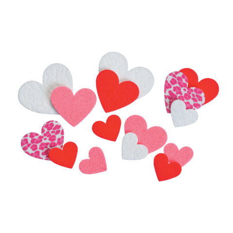 Felties Felt Stickers - Printed Hearts - 66 Pieces