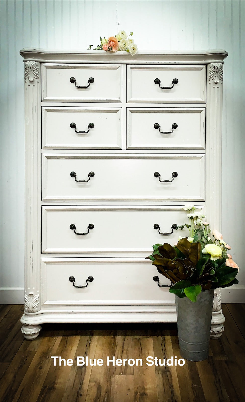 Creamy Ivory White Distressed Seven Drawer Chest Dresser