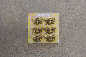 "1""L Pewter Bee Magnets on Card, Set of 6"
