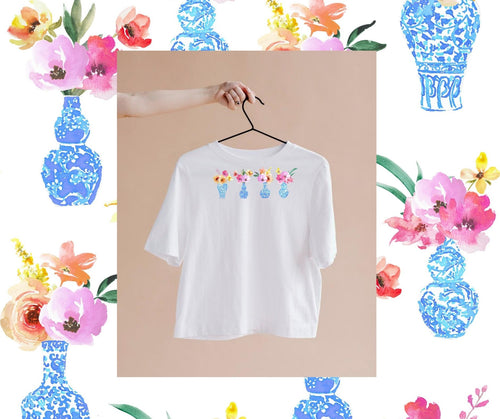 Sort Sleeve White T Shirt with Blue and White Chinoiserie Ginger Jars and Florals