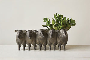 "13""L Resin Sheep Planter, Distressed Iron Finish"
