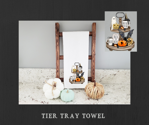 Halloween Fall Rae Dunn Style Tier Tray Towel