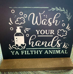 Wash Your Hands Blackboard Sign and Stand