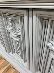 Grey China Cabinet with Old World Details  SOLD