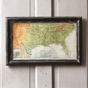 Vintage Inspired Southern Farmhouse Charm Map of the South