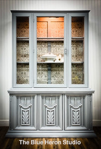 Grey China Cabinet with Old World Details