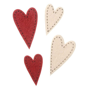 Felties Felt Stickers - Stitched Hearts - 72 Pieces