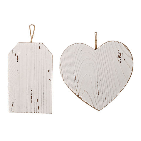 Assorted Heart Or Tag Shape Whitewashed Wood Ornament
