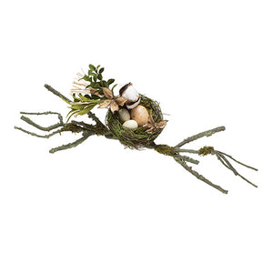 Moss Birds Nest Decor With Branches: 21 Inches