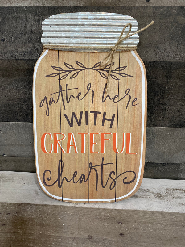 Fall wooden jar signs