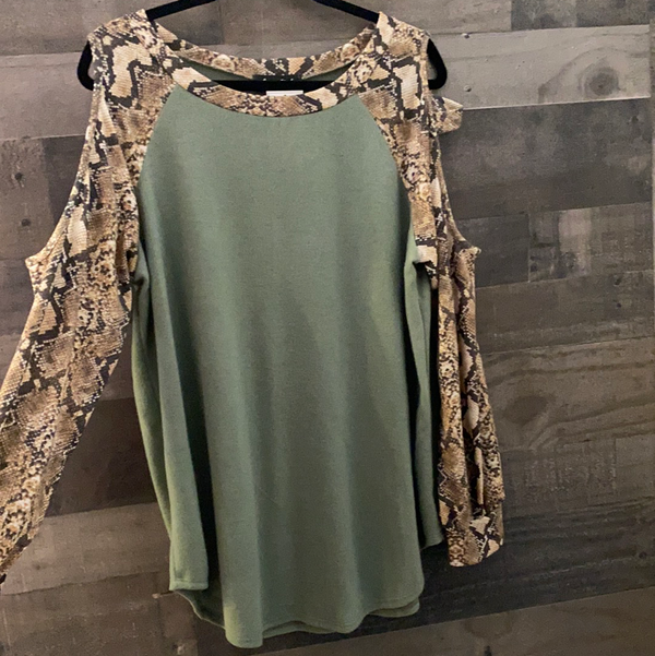 Snake skin cold shoulder top