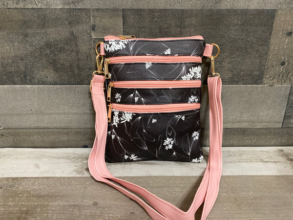 Three pocket floral crossbody purse