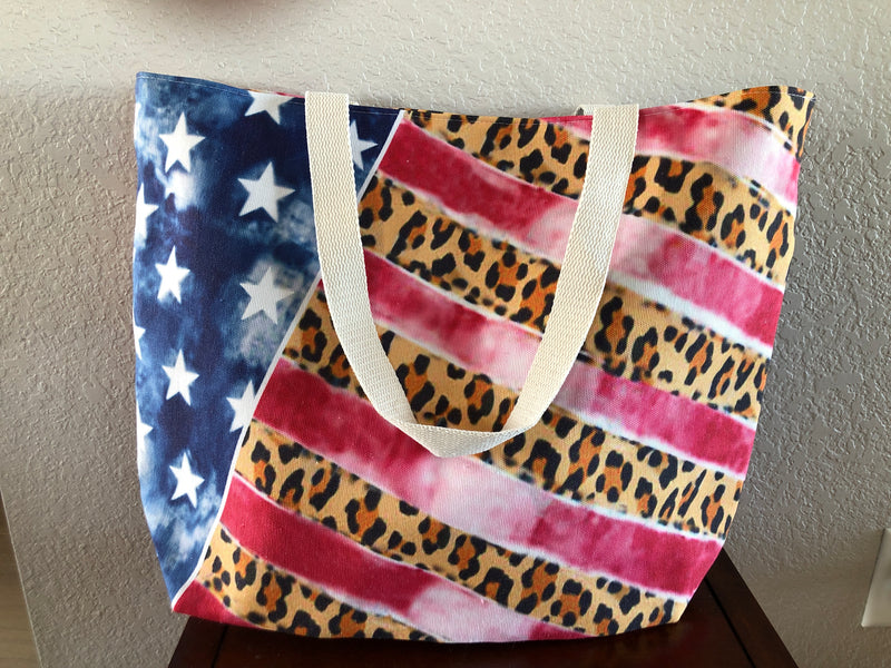 Leopard and American flag tote bag