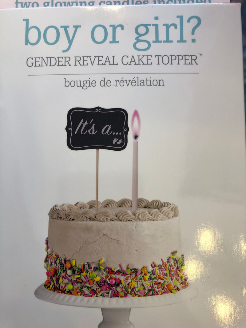 Boy or girl gender reveal cake topper
