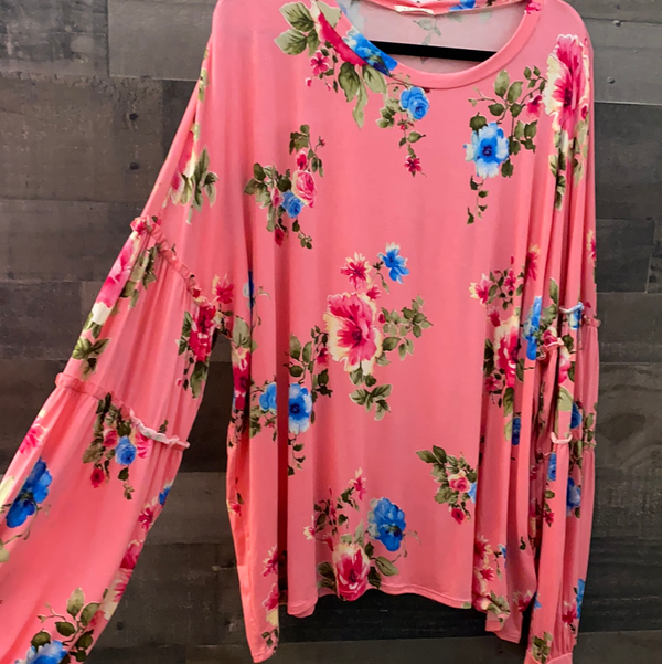 Pink floral long sleeve top