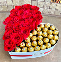 HEART BOX OF HALF ROSES AND HALF CHOCOLATES
