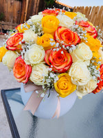 HOLLYWOOD BOX OF ROSES (Yellow, Orange and White roses)