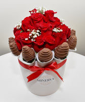 MINERVA ONE COLOR ROSES WITH COVERED STRAWBERRIES