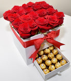 VALENCIA DRAWER BOX OF ROSES AND CHOCOLATES