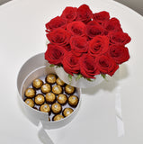 MALIBU DRAWER BOX OF ROSES WITH CHOCOLATES