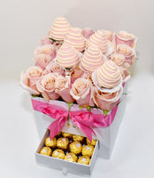 VALENCIA DRAWER BOX OF ROSES WITH CHOCOLATE COVERED STRAWBERRIES AND FERREROS