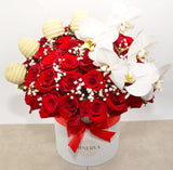 HOLLYWOOD BOX OF ROSES AND ORCHIDS WITH COVERED STRAWBERRIES