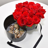 MALIBU DRAWER BOX OF ROSES WITH CHOCOLATE COVERED STRAWBERRIES