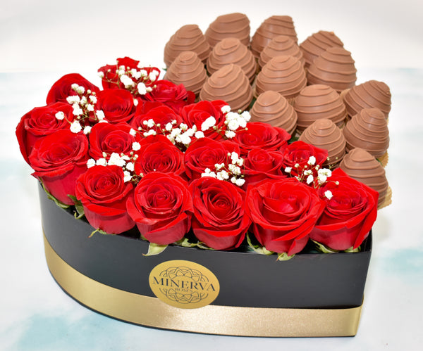 HEART BOX OF HALF ROSES AND HALF CHOCOLATE COVERED STRAWBERRIES