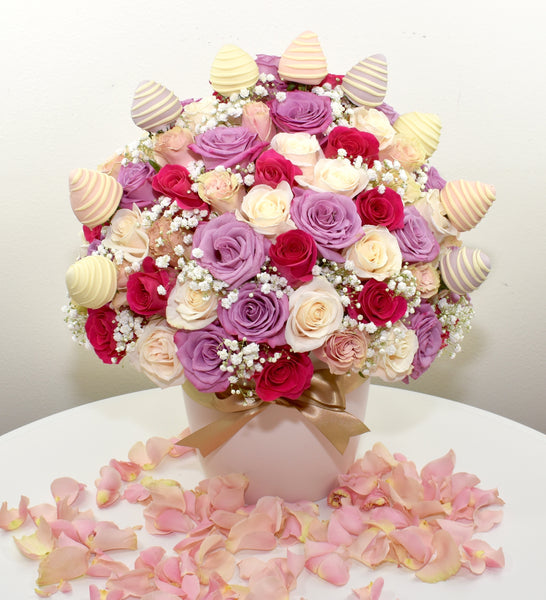 HOLLYWOOD BOX WITH COVERED STRAWBERRIES- 100 or 75 Roses