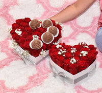 HEART BOX WITH COVERED STRAWBERRIES SMALL