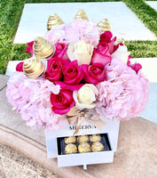 VALENCIA PREMIUM ROSES AND HYDRANGEAS WITH CHOCOLATE COVERED STRAWBERRIES AND FERRERO ROCHER