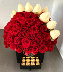 VALENCIA BOX OF ROSES (Dome)WITH CHOCOLATE COVERED STRAWBERRIES AND FERREROS (75 or 100 roses)