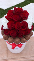 MINERVA ONE COLOR ROSES WITH CHOCOLATE COVERED STRAWBERRIES