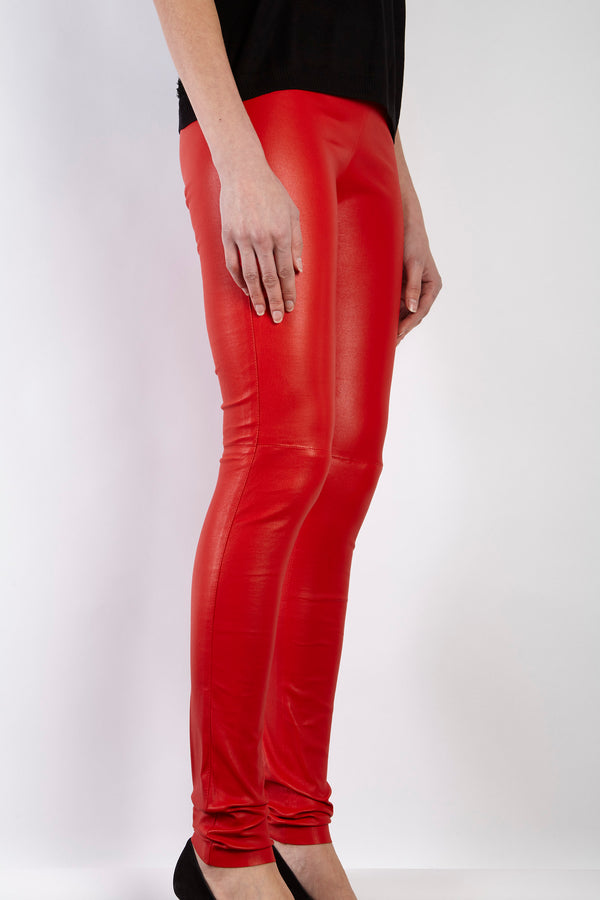 STRETCH LEATHER LEGGING RED - Divine cashmere
