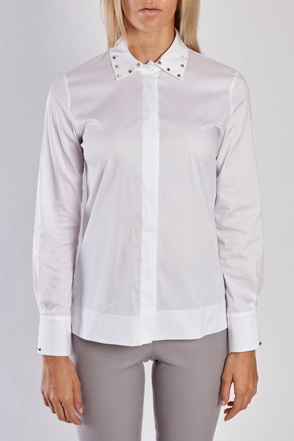 STUD DETAILED SHIRT - WHITE