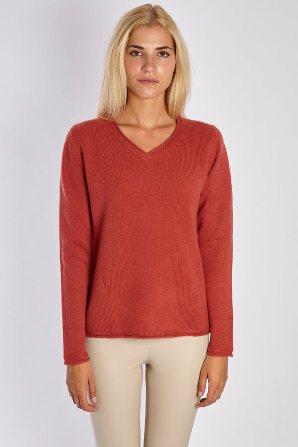 V NECK JUMPER - TERRACOTTA