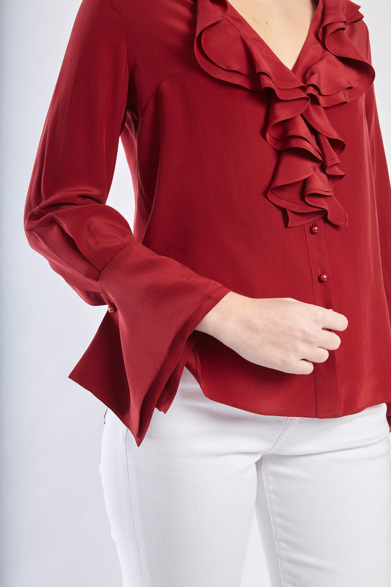 RUFFLE SILK SHIRT - BURGUNDY