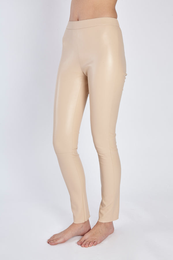 LEATHER LEGGING-BEIGE