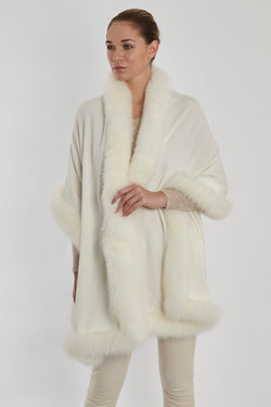 CASHMERE SCARF WITH FOX-WHITE