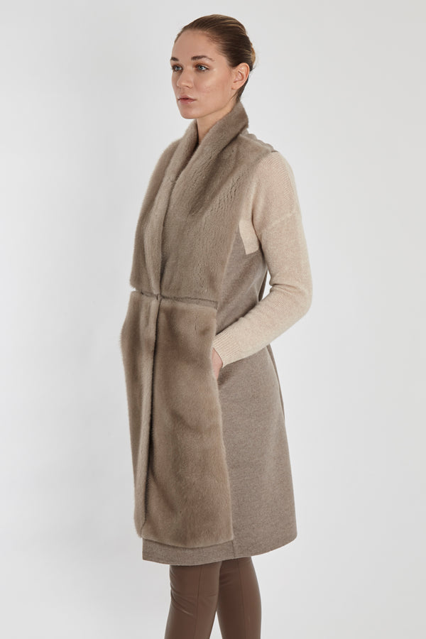 MINK VEST WITH CASHMERE-SILVER/GREY