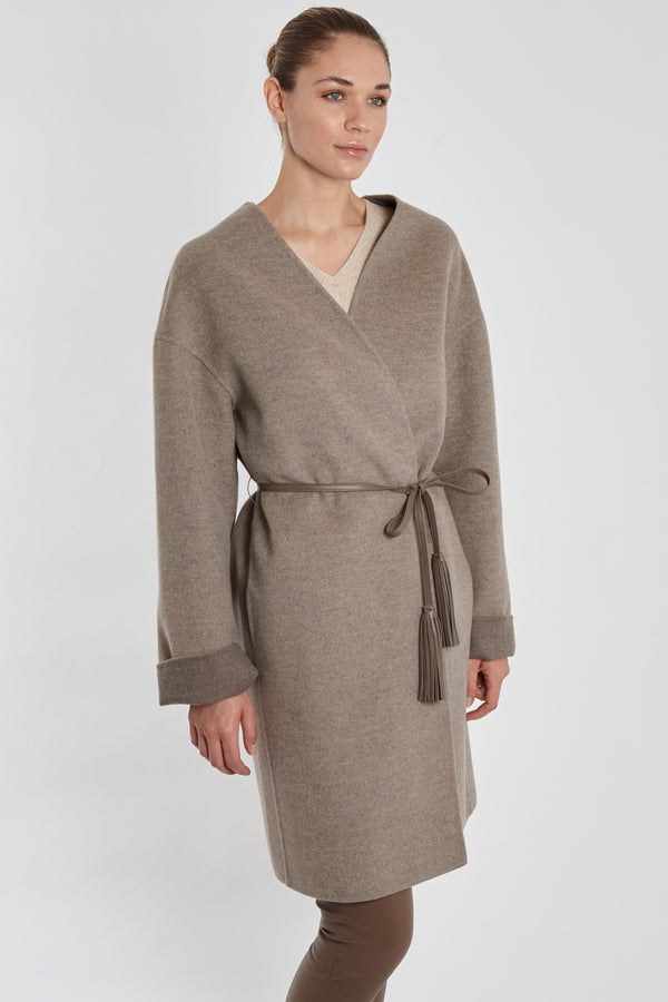 CASHMERE COAT WITH LEATHER BELT-TAUPE