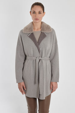 CARDIGAN WITH MINK COLLAR-ZINCO/FANGO
