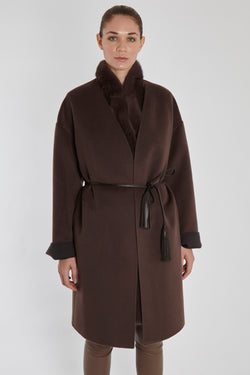 CASHMERE COAT WITH LEATHER BELT-MARRON GLACE