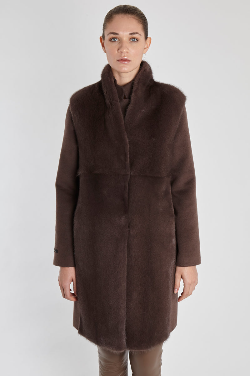 MINK VEST WITH LORO PIANA FABRIC-MARRON GLACE