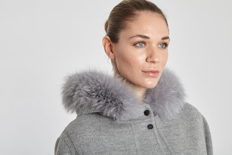COAT WITH FAWN LIGHT HOOD TRIMMING-LIGHT GREY