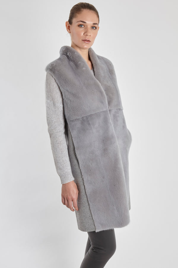 MINK VEST WITH LORO PIANA FABRIC-LIGHT GREY
