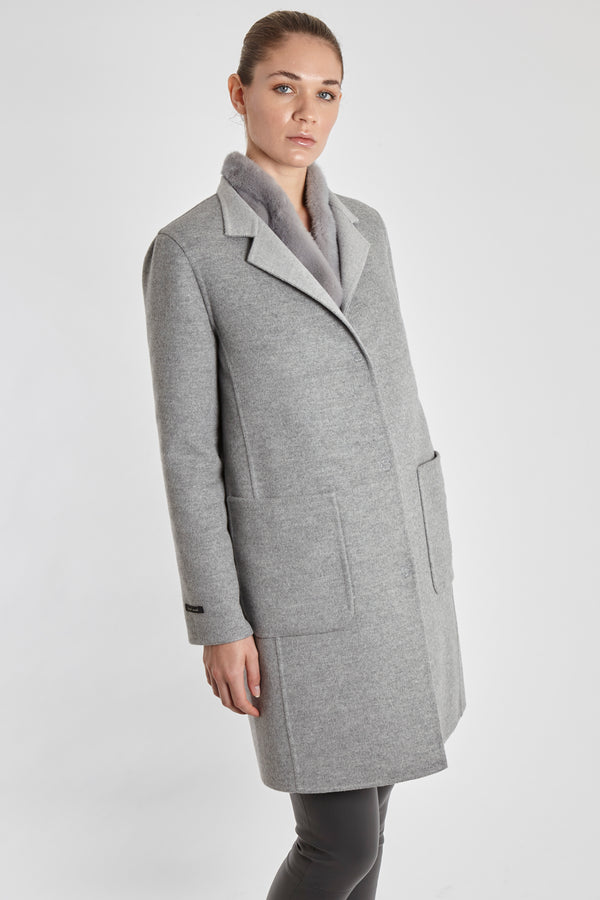 REVERSIBLE CASHMERE COAT-LIGHT GREY