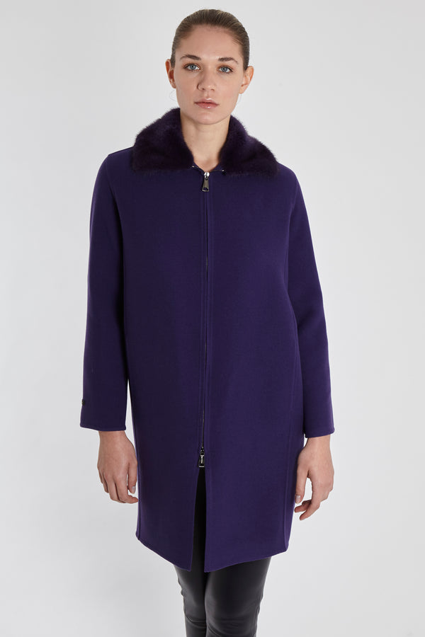 CASHMERE VELOUR COAT WITH MINK COLLAR-VIOLET